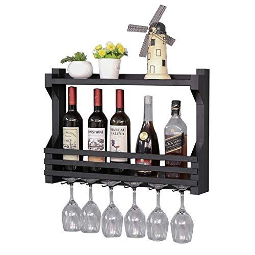 WWZWJ Botellero montado en la pared, con soporte para guarnición, estante de almacenamiento de vino de hierro forjado negro de doble capa, apto para restaurantes/bares/hogar (tamaño: 60 cm)