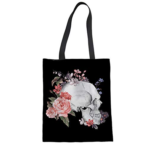 HUGS IDEA Vintage Punk Skull Floral Printed Linen Tote Bag for Women Ladies Grocery Reusable Handbags Elegant Shopping Purse