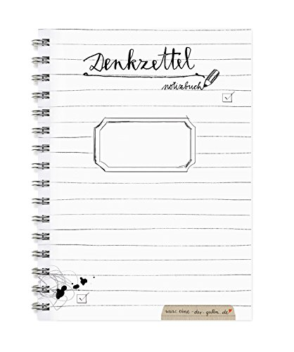 Denkzettel - Kleiner Notizblock A6, Notizbuch mit To-Do-Liste & Blanko-Seiten im schönen Kalligrafie Design, Schwarz Weiß, perfekte Geschenkidee für den Adventskalender
