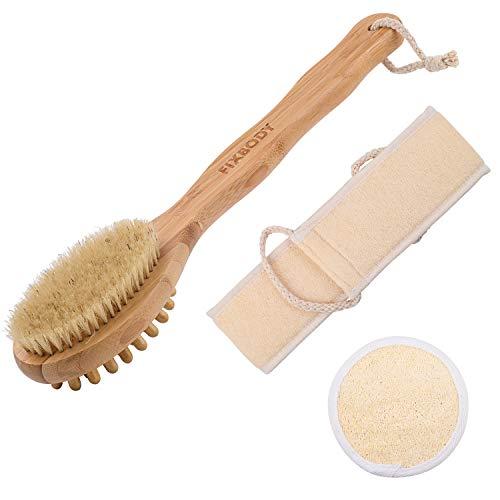 FIXBODY Bath Shower Body Brush, Loofah Back Scrubber and Face Sponge...
