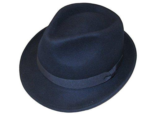 Major Wear Unisexe Bleu Marine 100% Laine en Feutre Fedora Chapeau avec Bande – 4 Tailles - Bleu - Large