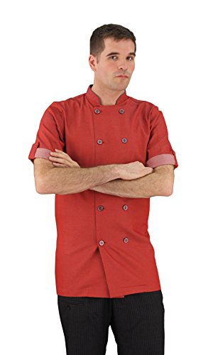 ASD Living Moisture Wicking Brick Red Short Sleeve, XX-Large Chef Coat