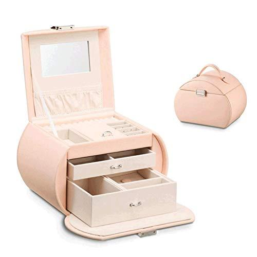YFQHDD Caja de joyería de cuero portátil para almacenamiento de joyas, organizador multifunción de gran capacidad, anillos de exhibición y collar