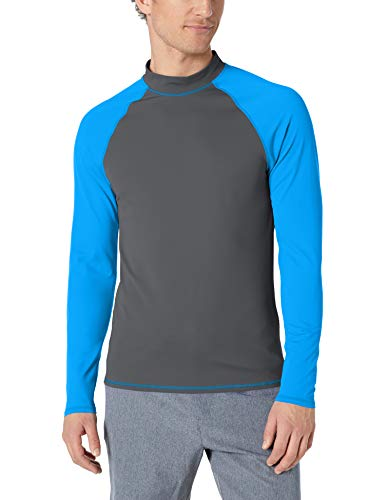 Amazon Essentials UPF 50+ Men's Rashguard, Charcoal & Blue, Medium