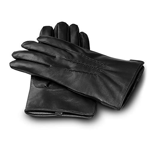 JAMES HAWK Classic Gloves | klassische Touchscreen Lederhandschuhe für Herren mit Kaschmir Fütterung | elegante Winterhandschuhe in Schwarz und Braun | Premium Geschenk mit Verpackung (Schwarz, L)