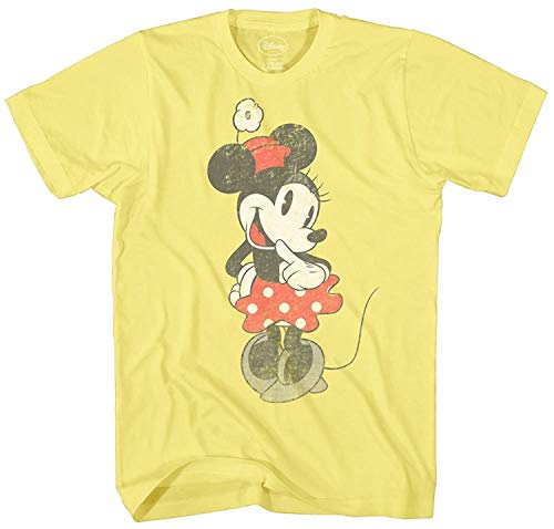 Disney SHY Minnie Mouse Graphic Tee Classic Vintage Disneyland World Mens Adult T-Shirt Apparel (Small, Pale Yellow)