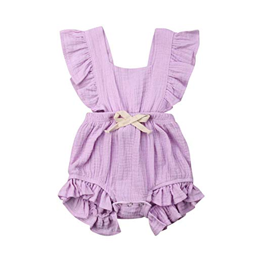 DUTISON Toddler Baby Girl Ruffled Rompers Sleeveless Cotton Romper Bodysuit Jumpsuit Clothes(0-24 Months)