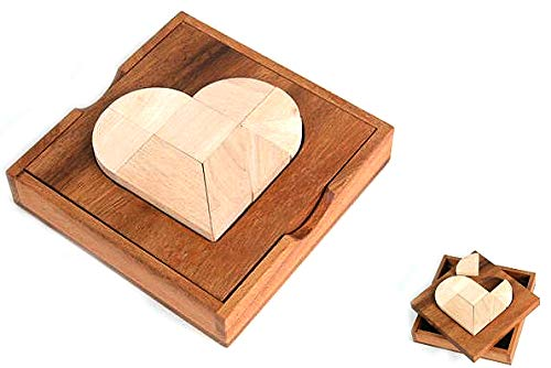 Logica Juegos Art. Corazón Tangram - 49 Puzzles en 1 - Rompecabezas de Madera - Juego Educativo para Niños - Serie Euclide (Juguete)