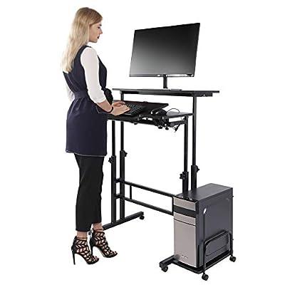 Standing Desk, Height Adjustable Stand up Desk Home Office Computer Laptop Workstation with Wheels and Host Shelf (Black)