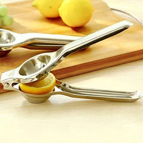 CathEU Zitronensaftpresse, Zitronensaftpresse aus Edelstahl - manuelle Zitruspresse, Fruchthandpresse, manuelle Saftpresse (Silver)