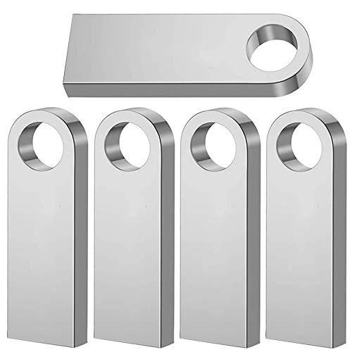 Weisite USB-Stick, 64 GB, USB 2.0, wasserdicht, mit Schlüsselring, 5 Stück silber 5 Stück, silberfarben. 64 GB