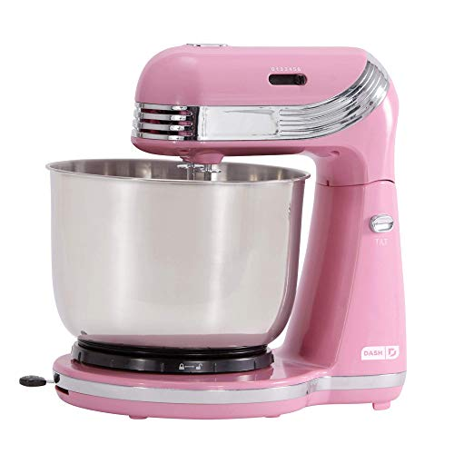 Dash Stand Mixer (Electric Mixer for Everyday Use): 6 Speed Stand Mixer with 3 qt Stainless Steel Mixing Bowl, Dough Hooks & Mixer Beaters for Dressings, Frosting, Meringues & More - Pink (Renewed)