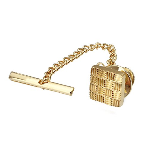 HAWSON Mens Square Tie Tacks Pins with Chains Check Tie Clips (Gold)