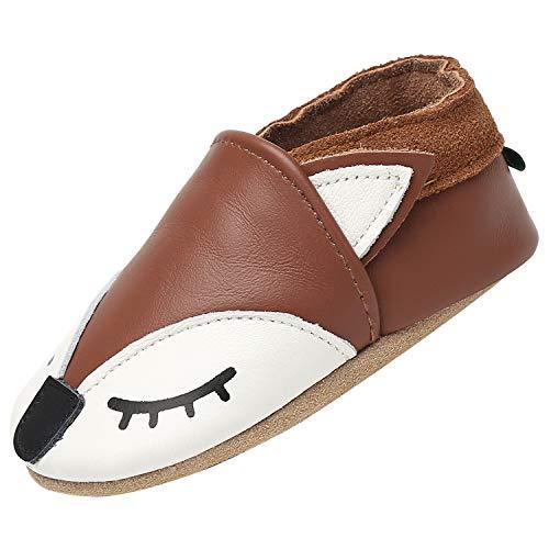 Zapatos de Bebé Suave Cómodo Zapatos para Bebé Niño Ligero Flexible Pantuflas para Interiores Al Aire Libre Primeros Caminantes, Zorro marrón 6-12 Meses