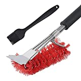 TLOG Nylon Grill Brush, 3 in 1 Grill Brush & Scraper, Best Nylon Bristle Brushes, 18' Barbecue Cleaning Brush with Silicone Brush, Scraper for Grill Cooking Grates,Universal Fit BBQ Grill Accessories