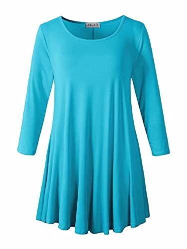 LARACE Women 3/4 Sleeve Tunic Top Loose Fit Flare T-Shirt(S, Lake Blue)