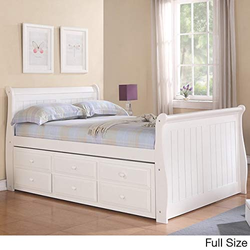 Donco Kids 512844 Full Sleigh Captains Bed Twin Trundle and Storage Drawers, White