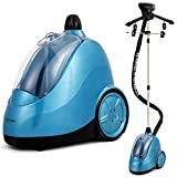COSTWAY Garment Clothes Steamer, Professional Heavy Duty Powerful 1.7L(58 fl oz) Water Tank Producing 60min of Continuous Steam with Fabric Brush, Garment Hanger and Glove (Blue)