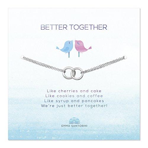 Emma Santorini Silberarmband mit Spruch-Karte Verschlungene Ringe