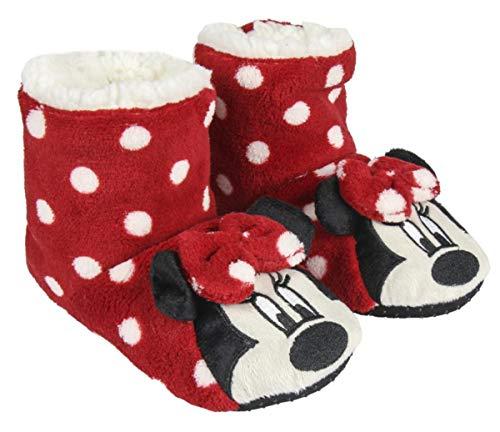 Chaussons - Bottes d'intérieur Enfant Fille Minnie Disney Rouge/Blanc du 26 au 33 (Numeric_30)