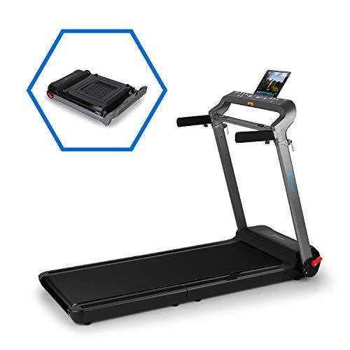 CAPITAL SPORTS Compact Space X - Tapis Roulant, Bluetooth: Kinomap, Potenza: 1,5 CV, Velocità: 1-10 km h, Superficie di Corsa: 123 x 44 cm, 36 Programmi, Sensore Frequenza Cardiaca, Nero