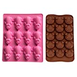 2 Pcs Little Pigs Chocolate Molds, Pig Shaped Silicone Molds Piggy Cake DIY Mold For Chocolate Jello Soap Mould Ice Cube Trays (Pink, Brown)