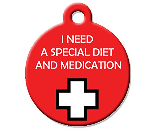 Big Jerk Custom Products Ltd Medical Alert Dog Cat Pet ID Tag - I Need A Special Diet and Medication - Perso.
