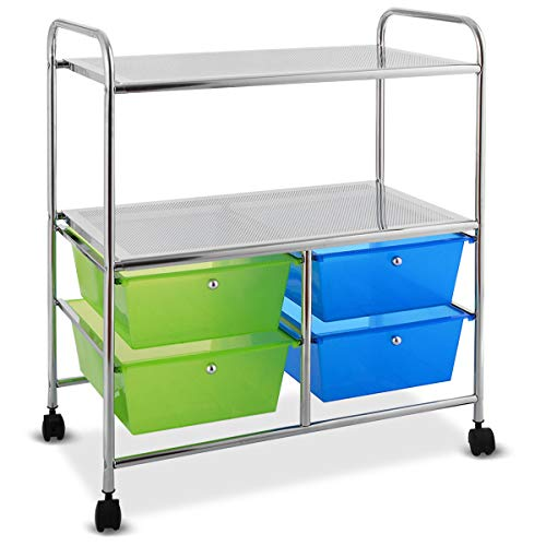 Giantex Rolling Storage Cart w/ 4 Drawers 2 Shelves Metal Rack Shelf Home Office School Beauty Salon Utility Organizer Cart with Wheels (Blue & Green)