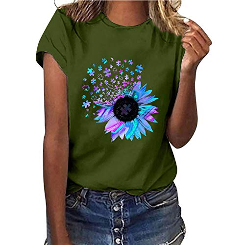 Camiseta de manga corta para mujer, diseño de girasol, estilo informal, básico, cuello redondo, para adolescentes, niñas, mujeres, camisa, túnica, fitness, sudadera verde S