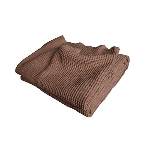 Qool24 Baumwolle Waffelpique Bettüberwurf Bettlaken Tagesdecke Waffelpikee Bettdecke Überwurf Decke Pikee 16 Farben & 4 Größen Braun 190x210 cm