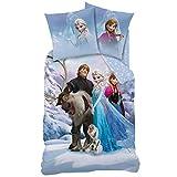 Familando Biber/Flanell Bettwäsche-Set Disney die Eiskönigin 135x200 80x80 100% Baumwolle Königin ELSA Schnee-Mann Olaf und Sven Frozen 2