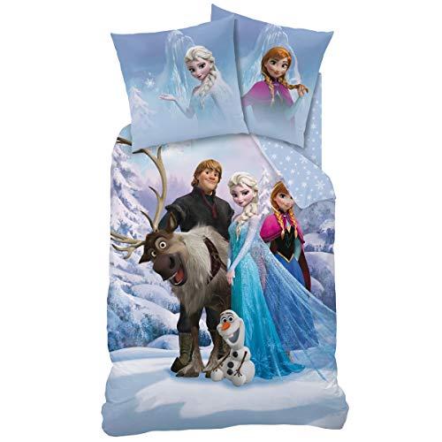 Familando Wende-Bettwäsche Die Eiskönigin, 135 x 200 cm 80 x 80 cm, 100% Baumwolle, Frozen Sven Kinder-Bettwäsche