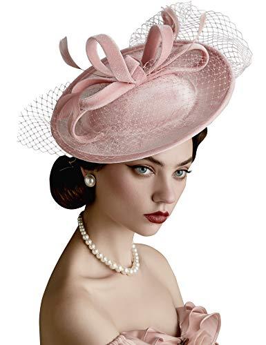 Coucoland Chapeau bibi avec voile et bandeau en velours - Chapeau de cocktail Kentucky Derby - Rose - Taille Unique