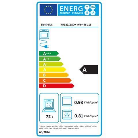 Electrolux – Four Electrique Encastrable Rob 2211 AOX Capacité 72 L multifonction ventilé couleur inox anti-traces