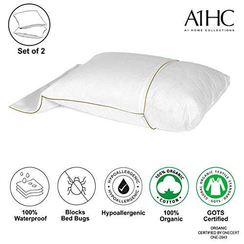 A1 Home Collections 100% Organic Cotton Waterproof Membrane Treated Anti Mite and Anti Bacterial Pillow Protector;Standard, Pack of 2(21'X26')