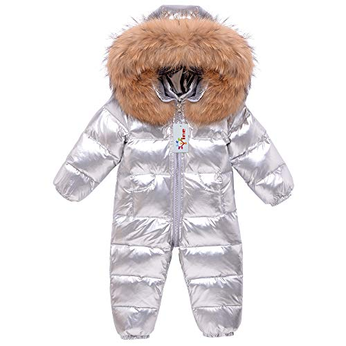 Vine Bambino Tute da Neve Tuta da Sci Inverno Pagliaccetto con Cappuccio di Piuma Piumino Abiti Invernali, Grigio 9-12 Mesi