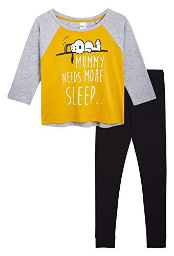 Peanuts Snoopy Pijamas Mujer, Conjunto Pijama Mujer de 2 Piezas, Camiseta Manga Francesa y Pantalon Largo, Ropa Mujer Algodón Suave 100%, Regalos para Mujer Chicas Adolescentes (S)
