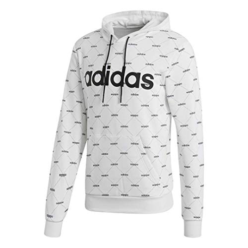 adidas Men's Linear Graphic Hoodie, White/Black, X-Large
