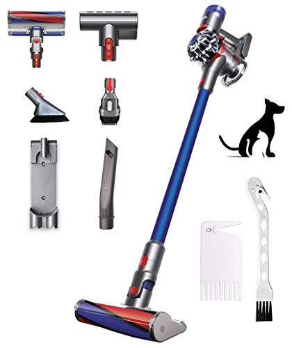 Dyson V7 Fluffy Cordless Stick Vacuum Cleaner: for Hardwood Cleaning, Ergonomic Handle, Bagless, Built-in Battery, Lightweight, Height Adjustable, Iron/Blue, Bundle W/GM Cleaning Brush Accessory