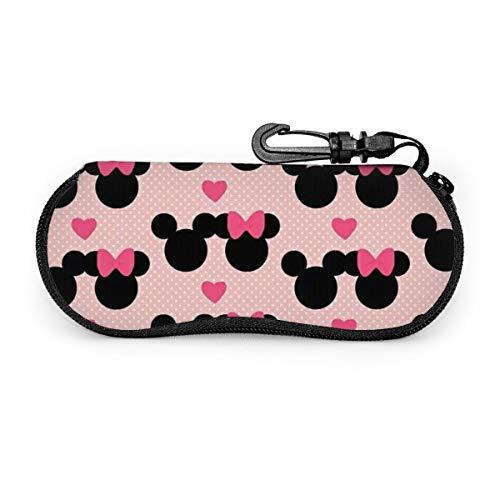 Minnie Mickey Mouse Funda de gafas, portátil con cremallera de viaje para gafas de sol