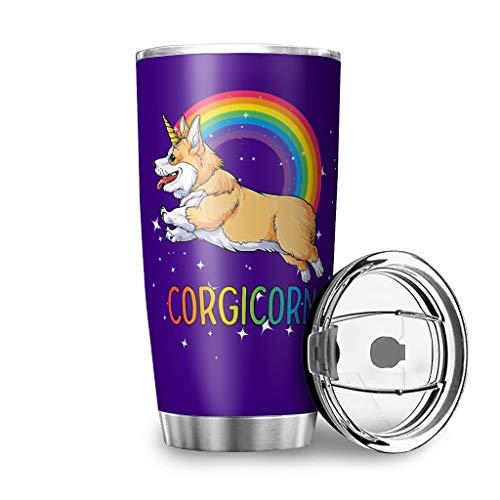 Yzanswer Corgi Unicorn Fashion - Vaso de té de acero inoxidable con aislamiento al vacío para viajes, camping, senderismo, color blanco 600 ml
