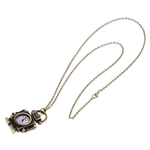Congchuaty Moda Vintage Reloj de Bolsillo Robot de Bronce Creativo Lindo Decoración Colgante Collar de Cadena Encanto Antiguo Relojes clásicos Mujeres Hombres Regalos de Fiesta