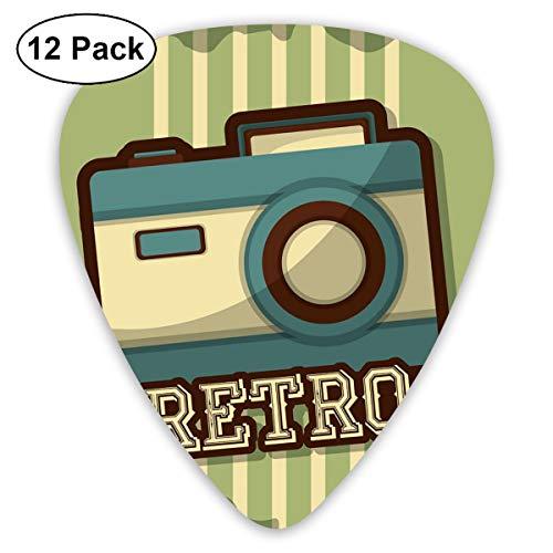 Gitaar Pick Retro Camera Icoon 12 Stuk Gitaar Paddle Set Gemaakt Van Milieu Bescherming ABS Materiaal, Geschikt voor Gitaren, Quads, Etc
