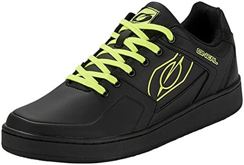 O'NEAL | Mountainbike-Schuhe | MTB Downhill Freeride | Vegan | Gleichgewicht zwischen Grip und Fußpositionierung, Waben-Sohle | Pinned Flat Pedal Shoe | Erwachsene | Schwarz Neon-Gelb | Größe 43