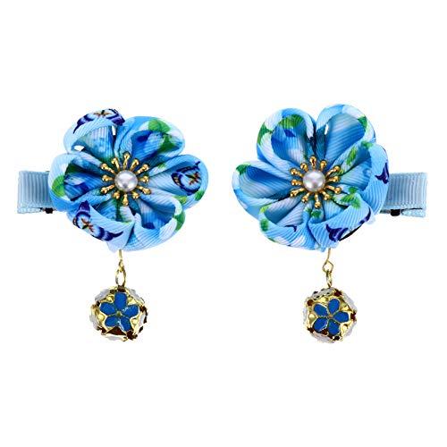 Minkissy 2Pcs Japonais Clip Kimono Fleur Clips Kimono Hanfu Accessoires Fleur Barrettes pour Enfants Ciel- Bleu