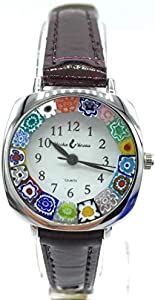 Reloj de Mujer Acero Piel Watch de Cristal de Murano murrina de Flores