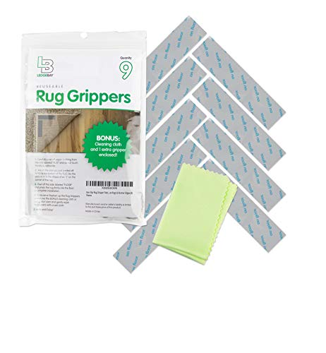 Non Slip Rug Gripper Pads: 9 Reusable Corner Carpet Tape Grippers - Adhesive No Skid Anti Slip Pad Hardwood Laminate Floors - Sticky Nonslip Grip Anchors Never Curl Area Rugs & Runner Edges (9)