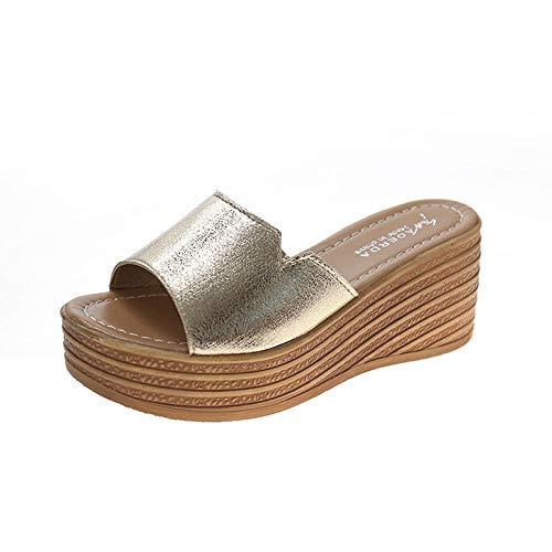MMWW Verano Zapatillas de Baño Antideslizantes,Pendiente de Mujer con Sandalias, Zapatillas de Mujer con Fondo de bizcocho-Dorado_38,Zapatillas de Piscina cómodas