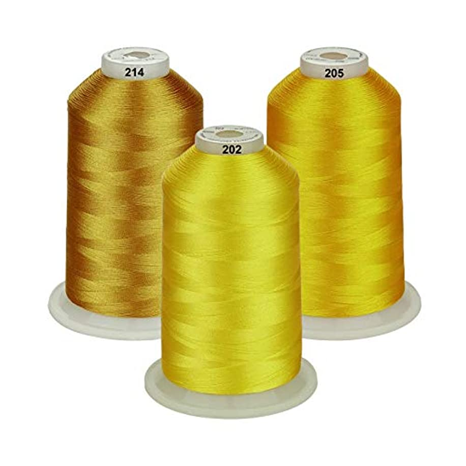 Simthread - 26 Selections - Various Assorted Color Packs of Polyester Embroidery Machine Thread Huge Spool 5500Y for Sewing Embroidery Machines - Deep Gold/Yellow/Lemon Yellow