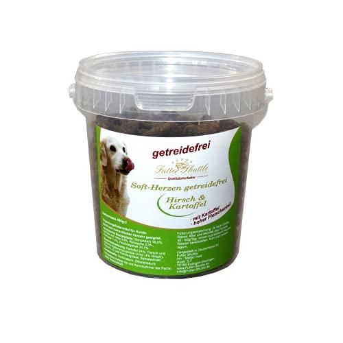 Getreidefreie Hundeleckerlies als Soft Herzen. Hirsch und Kartoffel. Im praktischen und wiederverschliessbaren 450g Eimer. Ideal zum Training oder zur Belohnung